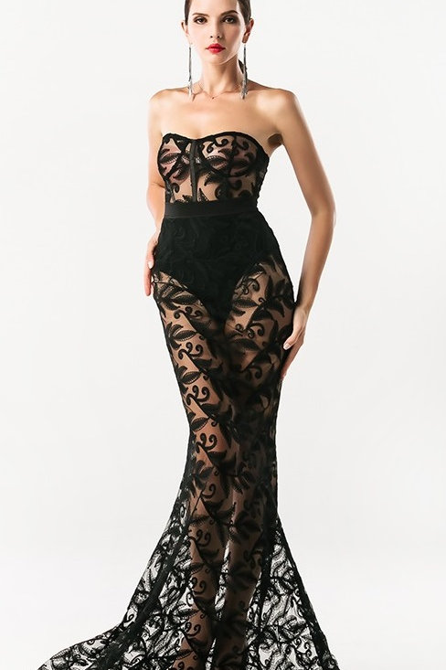 Birthday Suit - Black Lace Evening Gown