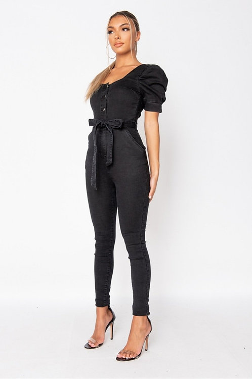 Charcoal Puff Sleeve Belted Denim Jumpsuit
