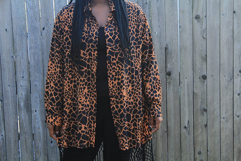 Reconstructed Cheetah Blouse with Fringe