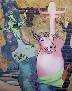 """""""Pink Cow, Night Sky, Bricks"""""""