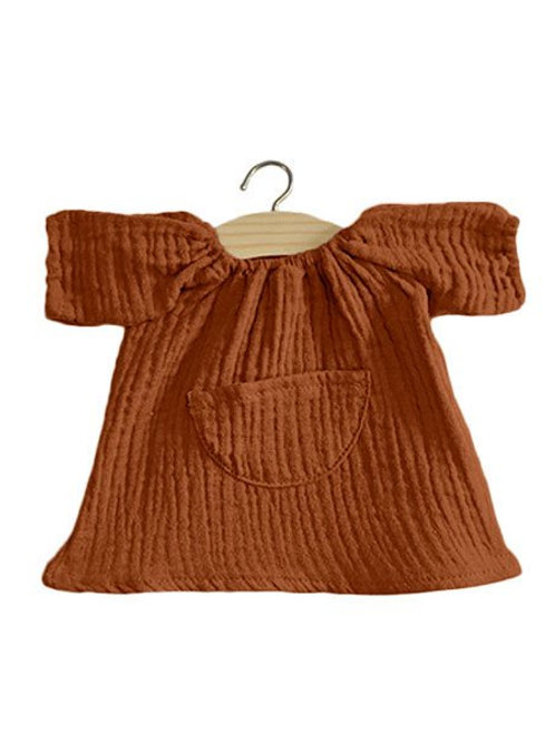 robe Jeanne gaze de coton Minikane cognac