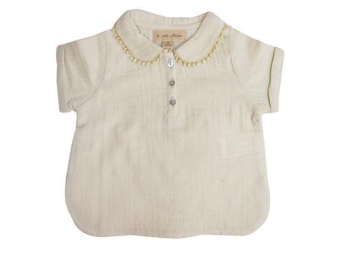 blouse gaze vanille col Claudine la petite collection