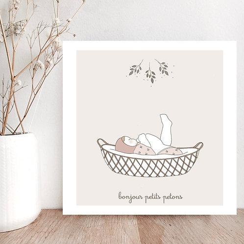 Carte Bonjour petits petons fille - Les Yeux Fripons