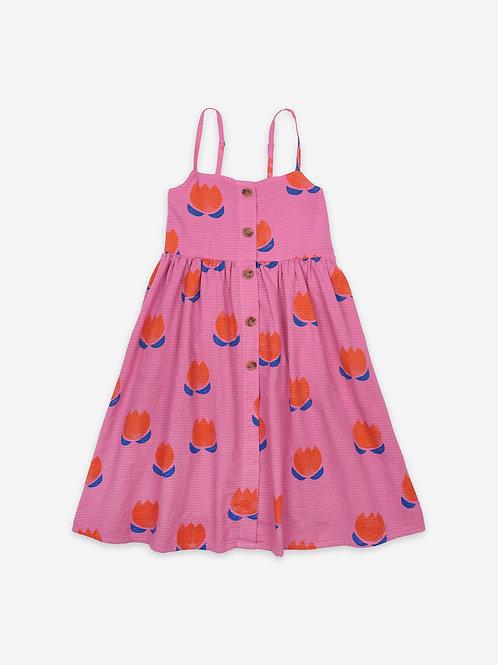 Robe tissée à bretelles rose boutonnée - Bobo Choses