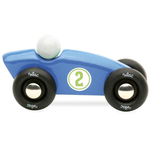 voiture en bois laque mini competition bleue