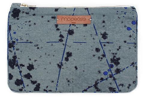 Pochette iPad Mapoésie Constellation gris/bleu