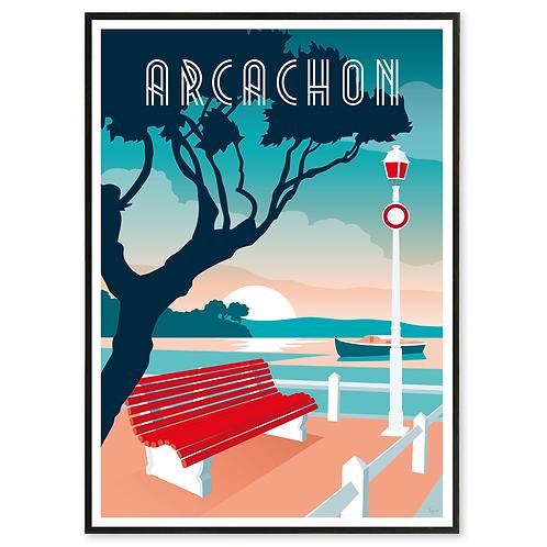 Affiche Arcachon Banc rouge - Les Affichistes