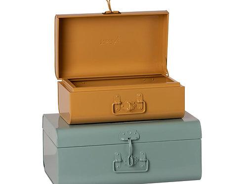 Duo de coffres en métal bleu ocre- Maileg