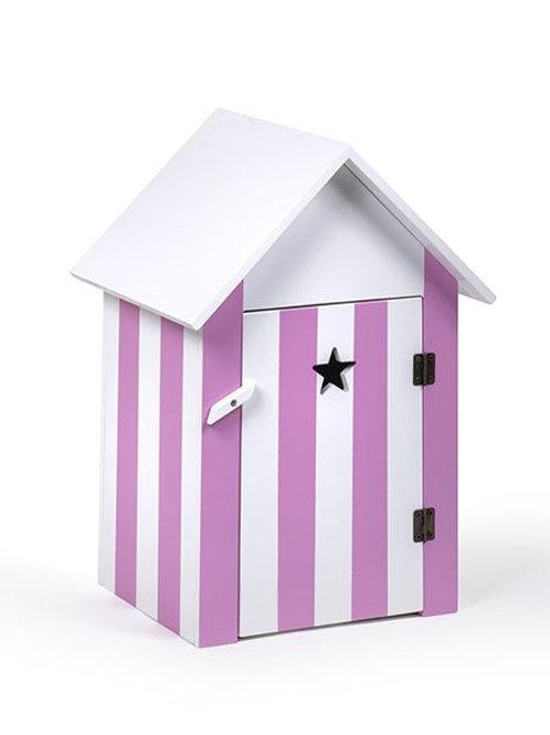 Cabine de plage rayée rose - Minikane