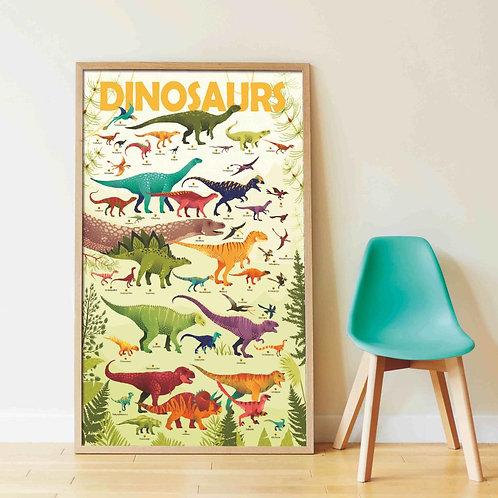 Poster géant Dinosaures + stickers  - Poppik