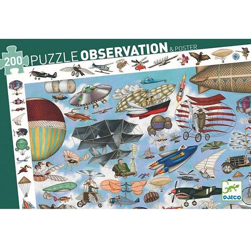 puzzle observation aéro club 200 pcs Djeco