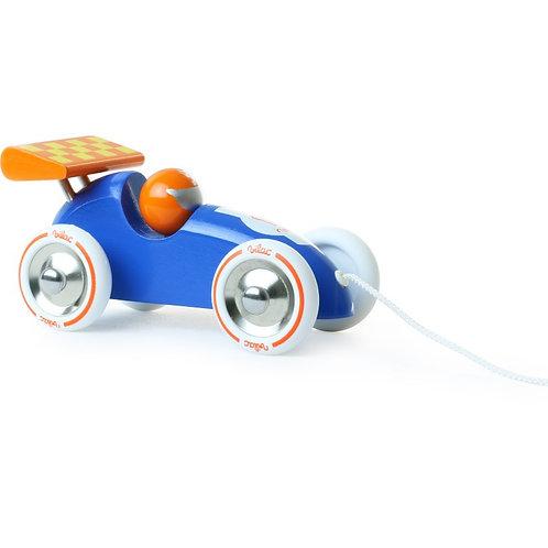 Voiture de course à traîner bleu et orange - Vilac