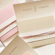 custom embossed cotton paper and ink wedding invitation