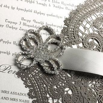 elegant design grey tones laser invitation for wedding