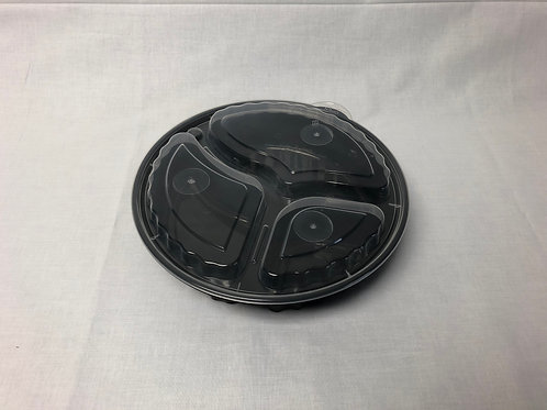 """Ridged 9"""" 3 Compartment Round Microwaveable Bowl, 150 sets"""