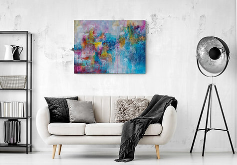 Mokup Plénitude - Gisèle Vivier  artiste peintre québécois - art abstrait