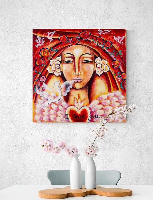 Mokup Lady of the Red Thread - Virginie Hentzienne artiste peintre art symbolique