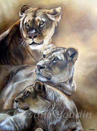Lionnes peintes par l'artiste Christine Boudin