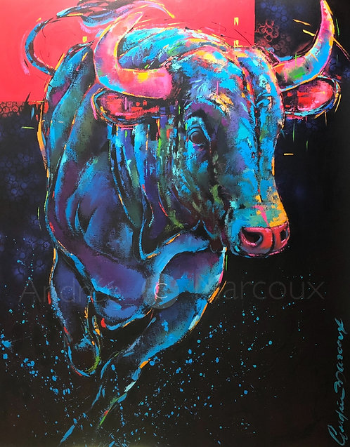 Peinture de Andrée Marcoux-art toro-art-animalier Québec