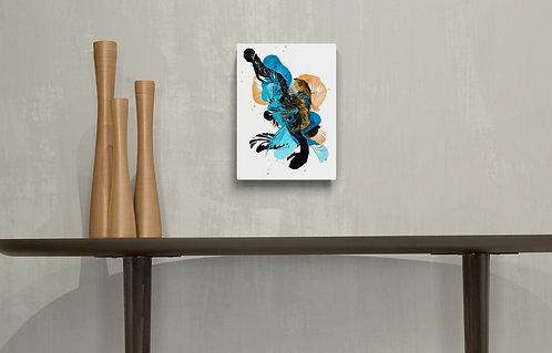Mockup Or bleu #1 - Quenick artiste peintre québécoise - art abstrait