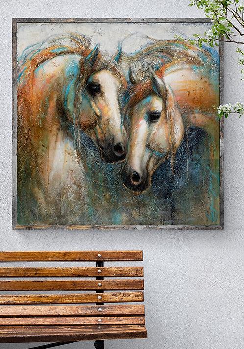 Fusion - Andrée Marcoux artiste peintre et sculpteure québécoise - art figuratif et art animalier