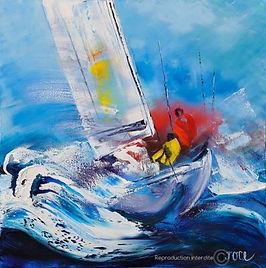 Tableau de voilier par l'artiste peintre Joce
