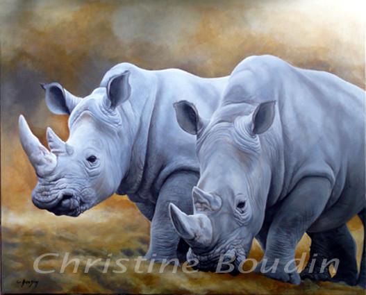 Peinture Rhinocéros par l'artiste Christine Boudin