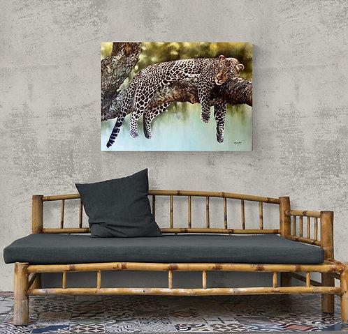 Mokup La sieste du léopard  - Christine Boudin artiste peintre animalier