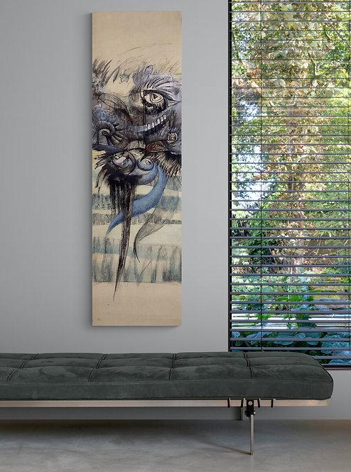 Mokup Ode aux oiseaux n1 Florence Laurent artiste peintre, art semi-abstrait et symbolique