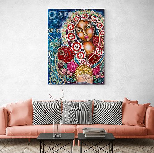 Mokup Everflowering Lady - Virginie Hentzienne artiste peintre art symbolique