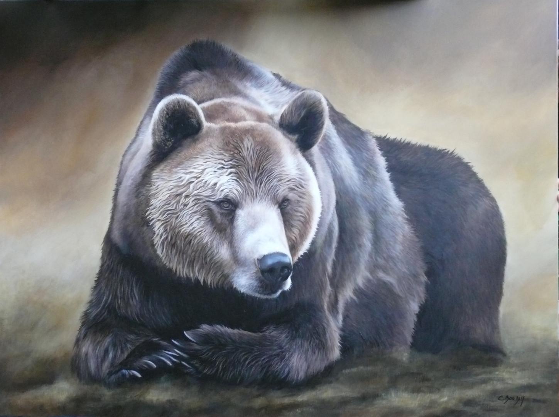 Peinture d'Ours polaire par l'artiste Christine Boudin