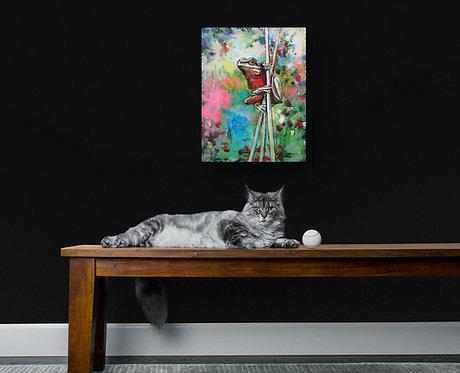 Mokup Miss grenouille - Annie Pelletier artiste peintre art figuratif