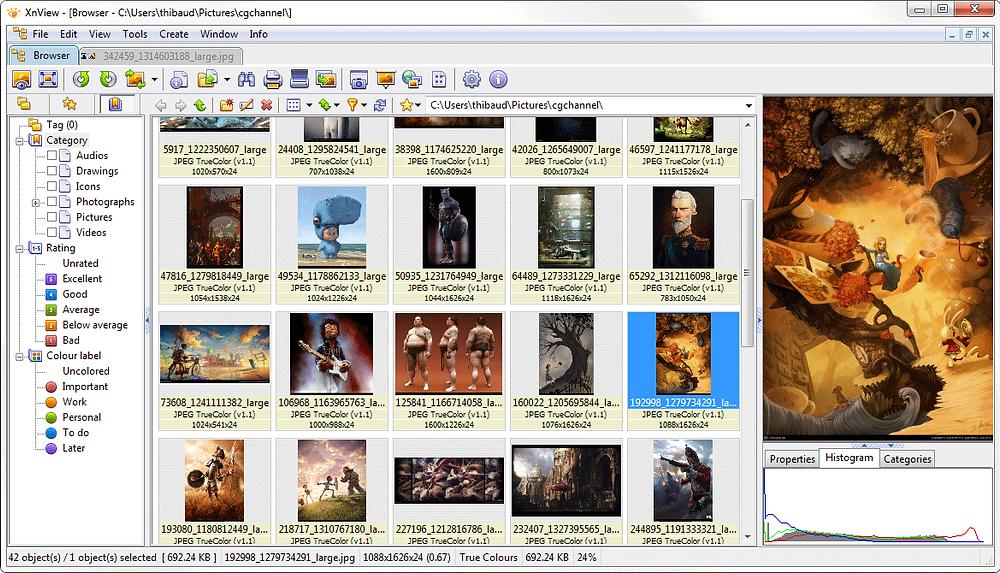 Xnview outils de retouche d'images en lot et bien autre