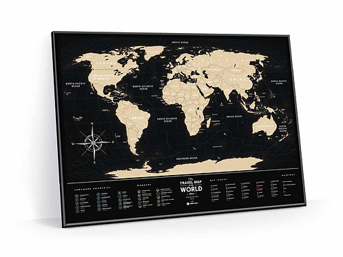 Travel Map Black World