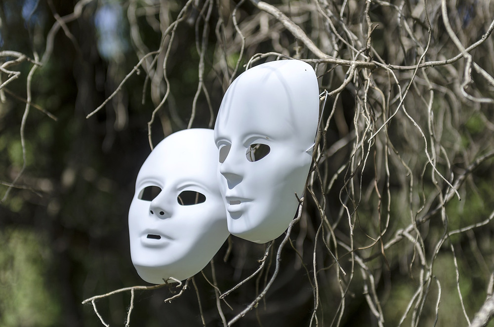 Maques plastiques blancs accrochés à un arbre