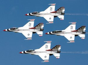 "BARKSDALE AIR FORCE BASE, La. -- The U.S. Air Force Thunderbirds perform at the 2003 ""Defenders of Freedom"" air show held May 10-11. (U.S. Air Force photo by Staff Sgt. Denise A. Rayder)"