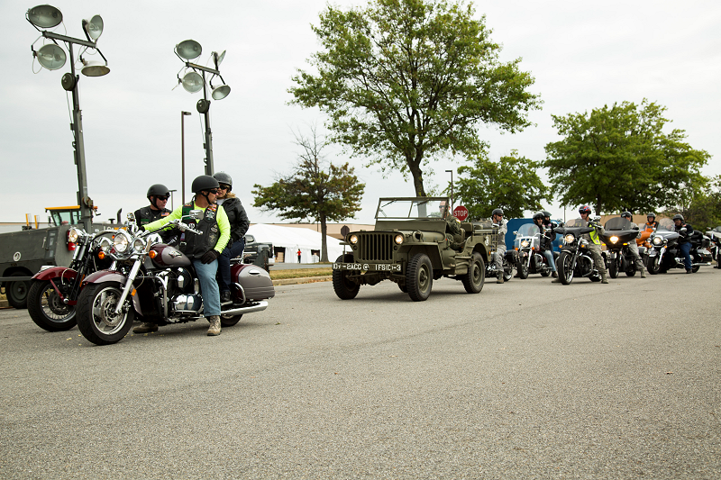 Green Knights leaving the base to escort the POW/MIA Flag to the Pentagon.