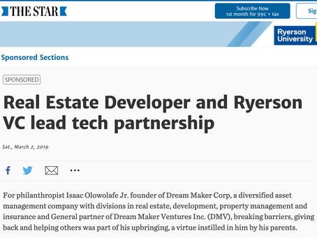 Real Estate Developer and Ryerson VC lead tech partnership