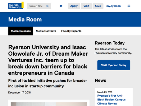 Ryerson and Dream Maker Ventures team up to break down barriers for black entrepreneurs in Canada