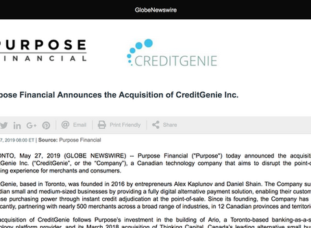 Purpose Financial Announces the Acquisition of CreditGenie Inc.