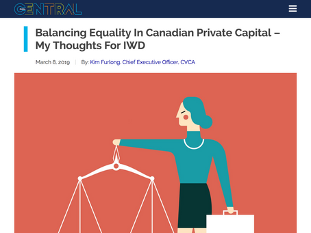 Balancing Equality In Canadian Private Capital – My Thoughts For IWD