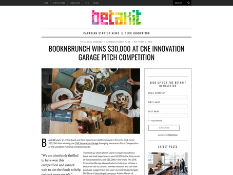 BooknBrunch wins $30,000 at CNE Innovation Garage Pitch Competition