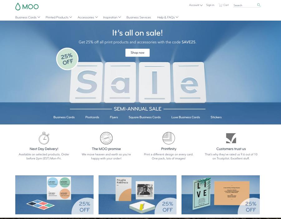 Moo.com's long scrolling site.
