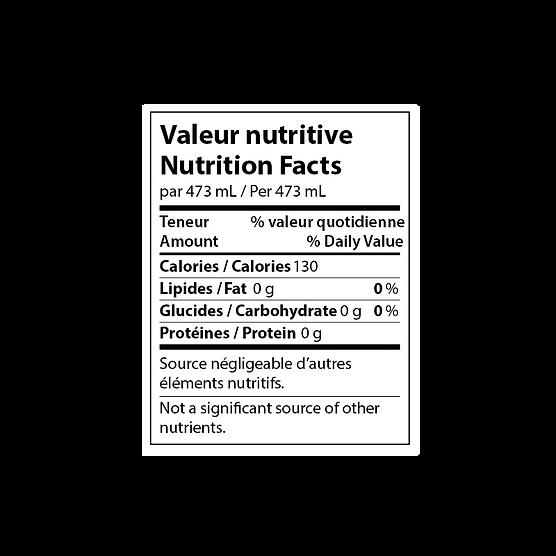 Nutrition Facts ART Kombucha
