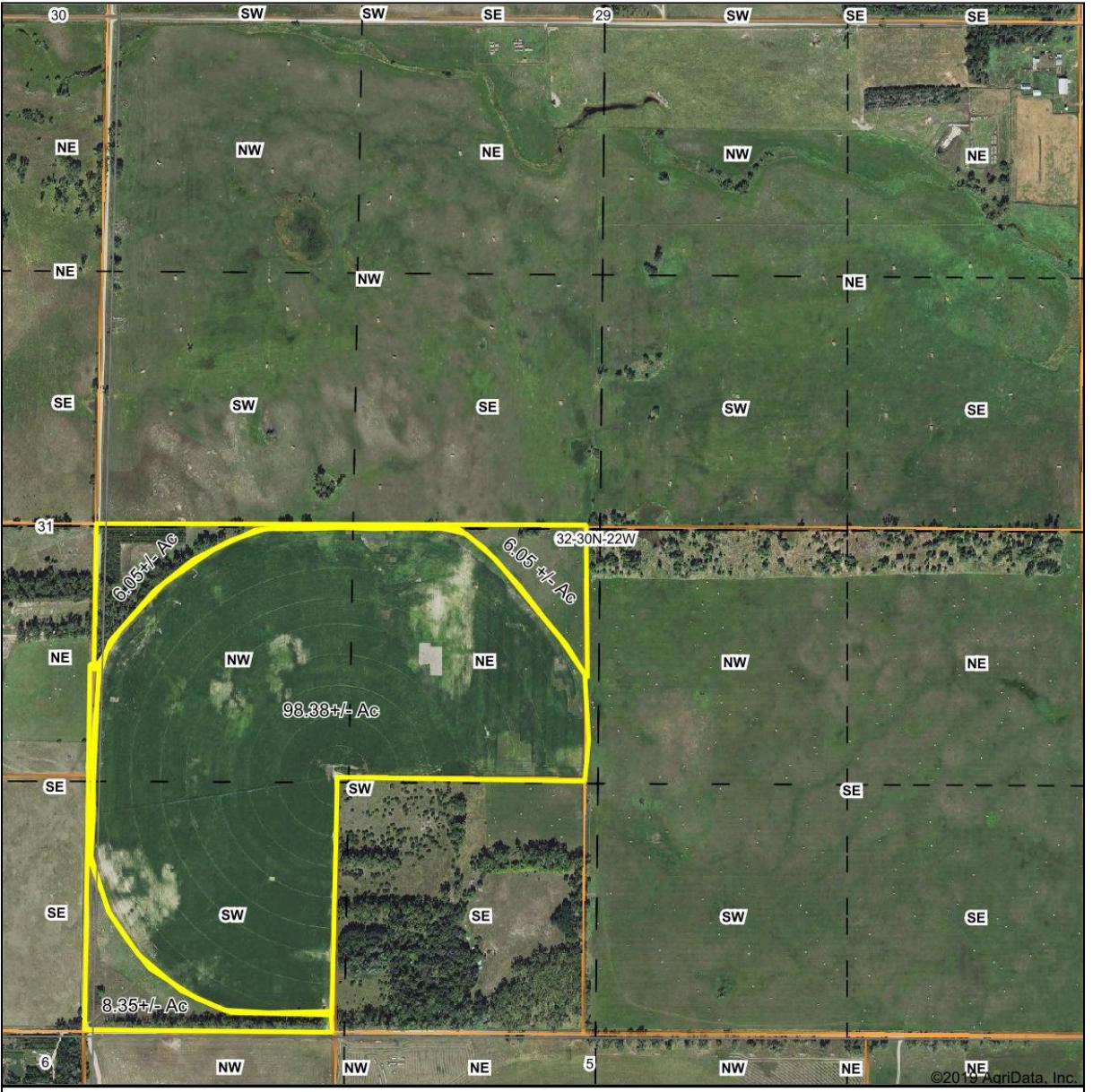 118.37 acres arieal crop