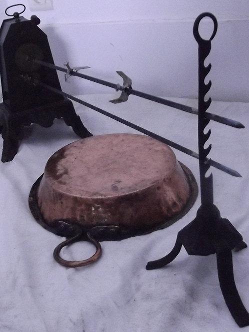 tourne broche cheminée ancien rôtissoire lèche frite cuivre étamé bbq barbecue X