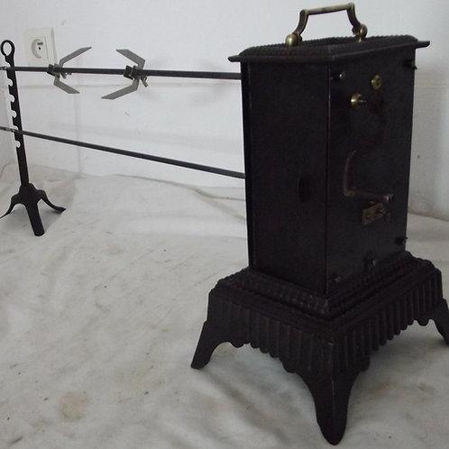 tourne broche ancien métal brossé trépied 2 broches lardoirs cheminée rôtissoire