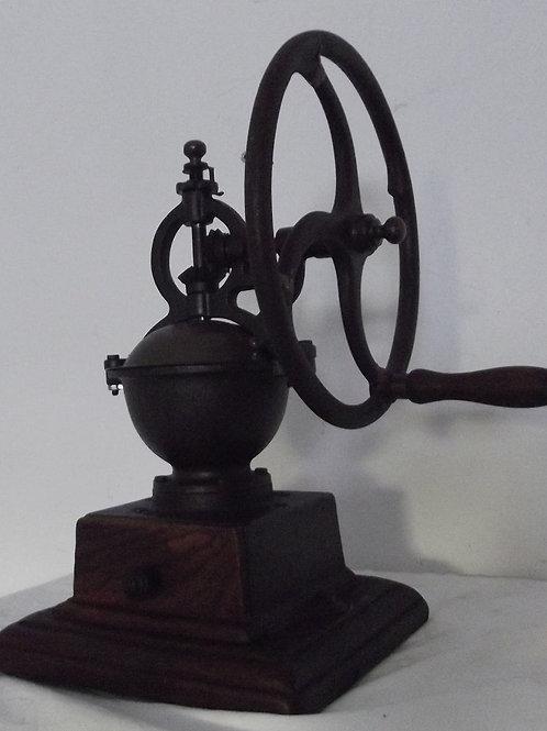 ancien moulin a café de comptoir a roue volant bois et fonte fer forgé GRONDER
