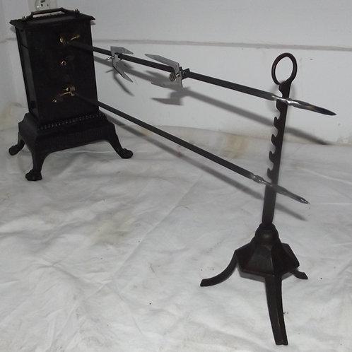 ancienne rôtissoire mécanique cheminée tourne broche ensemble complet rotissoire