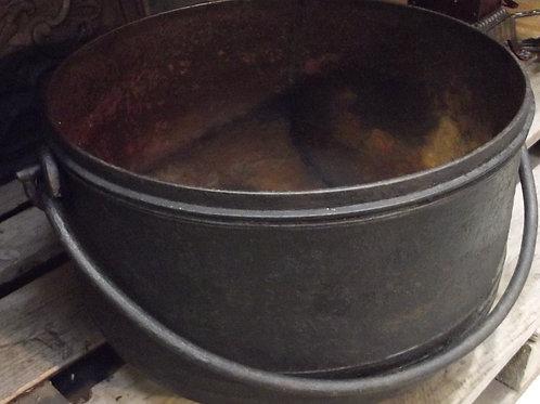 ancien chaudron fonte de cheminée anse fer forgé jardinière art populaire XXXL